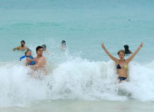 Swimming in the Caribbean at Tulum (photo/Kendra Yost)