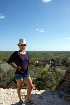 Pointing to the Oval Palace from the top of El Trono. (Photo/Kendra Yost)