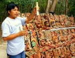 Mayan man displaying natural colors of the masks