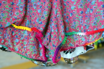 The cutest beach shorts with multicolored ruffle hem made in India. (Photo/Kendra Yost)