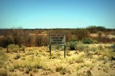 A sign near the ruinwarning of quicksand.
