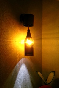 A beer bottle as an accent light. (Photo/Kendra Yost)