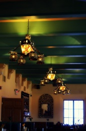 Antique lighting in the Turquiose Room at La Posada.