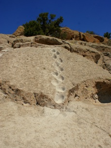 Ancient hand and foot holds at Tsankawi trail in New Mexico.