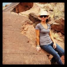 Exploring the rock art on Petroglyph Trail in St. Johns, Arizona.