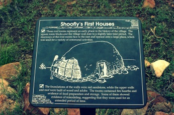 Illustration on the first houses built at Shoofly Village in Payson, Arizona.