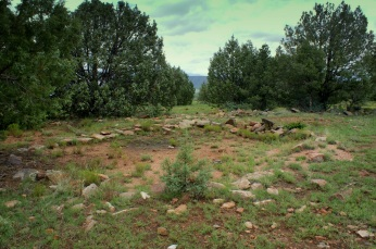 An oval outline indicates a house once occupied this space at Shoofly Village in Payson, Arizona.