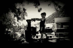 Playing in a train in front of the Bisbee Mining & Historical Museum in Arizona. Photo/Kendra Yost