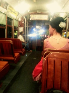 The trolley picking us up in the Garden District in New Orleans. Photo/Kendra Yost