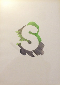 "Letter ""S"" from his ""HAYES"" watercolor series."
